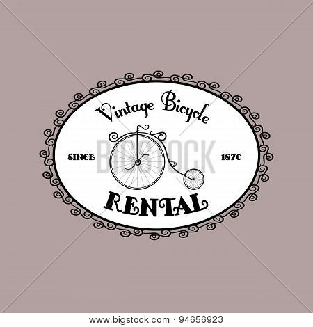 Rental Bicycle vintage black and white oval logo