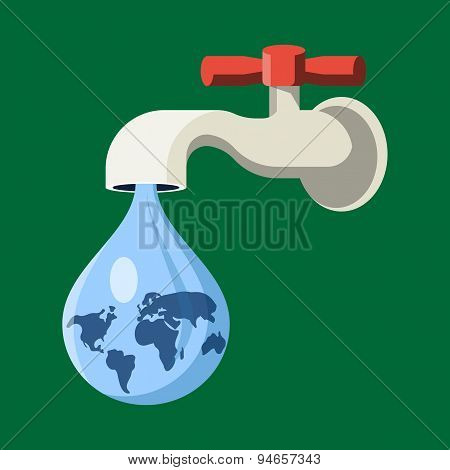 Water Tap with Earth Globe Drop