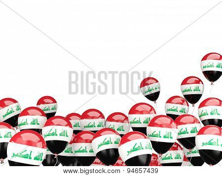 Flying Balloons With Flag Of Iraq