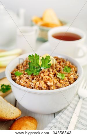 Buckwheat porridge with parsley. Russian food