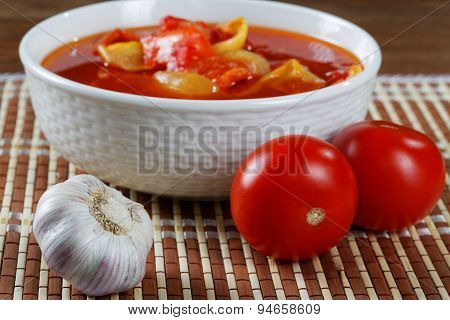 Still Life With Tomatoes And Garlic Lecho