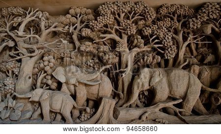 Public Hand Carved Elephants Wood Craft