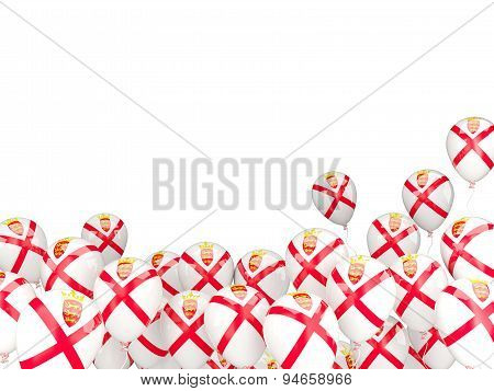 Flying Balloons With Flag Of Jersey
