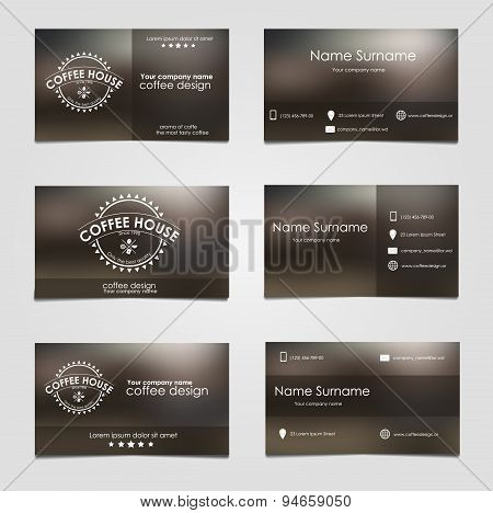Set Of Business Cards For Coffee