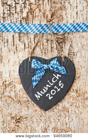 Rustic Background With White And Blue Ribbon