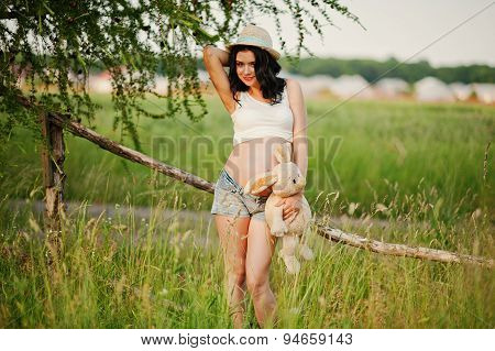 Pregnant Gorgeous Brunette Woman