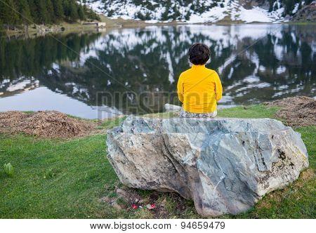 Child exploring the mountain
