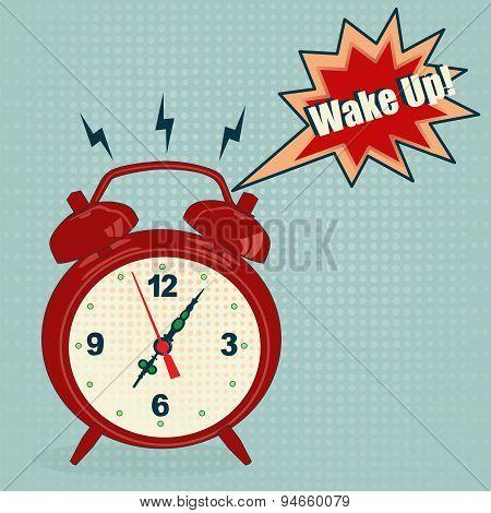Alarm Clock In Pop Art Style