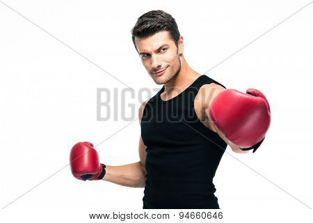 Happy fitness man standing with red boxing gloves isolated on a white background