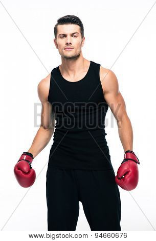 Portrait of a fitness man with red boxing gloves isolated on a white background