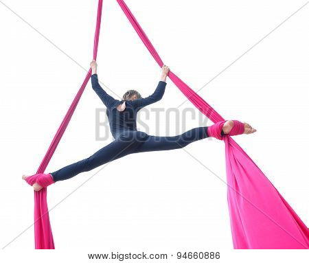 Cheerful Child Training On Aerial Silks, Isolated Over White