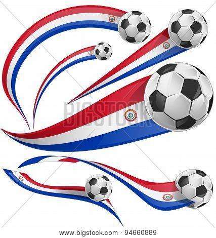 Paraguay Flag  With Soccer Ball