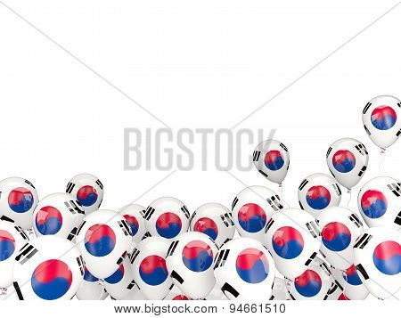 Flying Balloons With Flag Of Korea South
