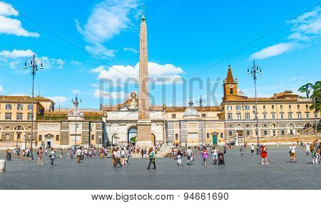 Obelisco Flaminio On Piazza Popolo, Rome, Italy.