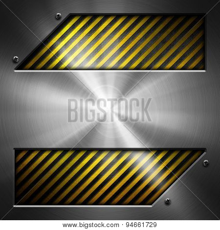 abstract metal with warning striped background