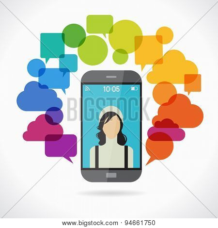 Smartphone surrounded by speech bubble.  Concept communication. The idea of a mobile chat. This illustration contains a transparency