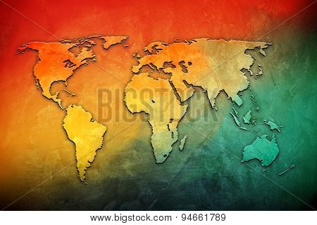 world map on colorful background
