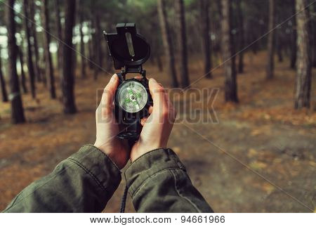 Pov Of Hands With A Compass