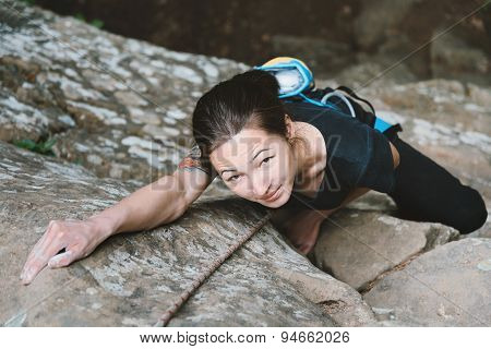 Young Woman Climbing Outdoor