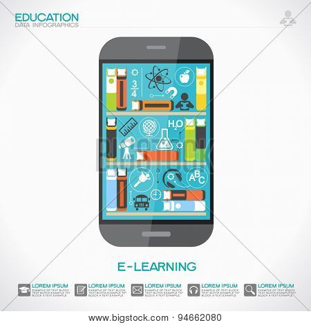 Background education infographics. Telephone with books on screen surrounded by scientific icons. The idea of education in the Internet. This illustration contains transparency
