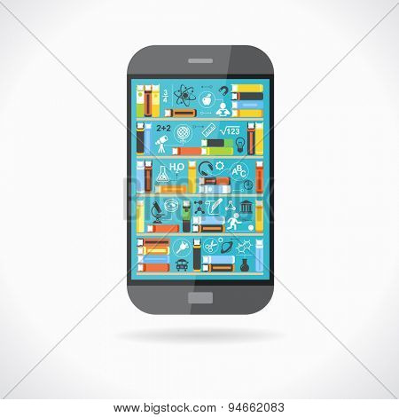 Concept education. Telephone with books on screen surrounded by scientific icons. The concept of e-learning. The idea of education in the Internet. This illustration contains transparency