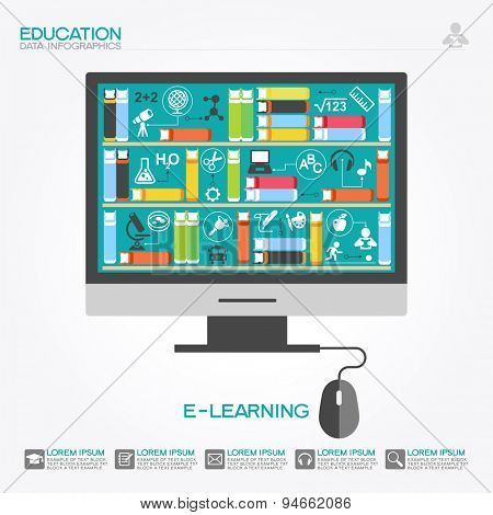 Computer with books surrounded by icons of science. Concept  e-learning. Online education idea. This illustration contains a transparency