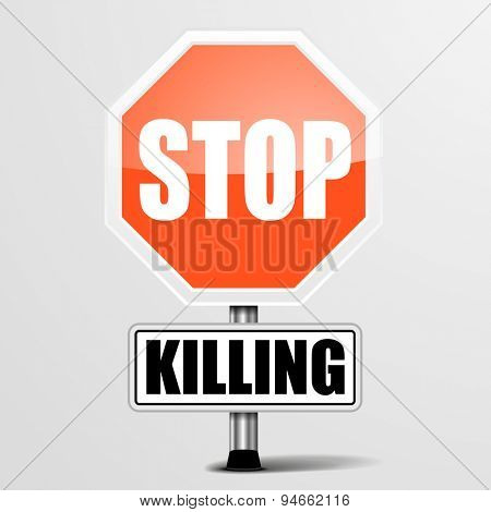 detailed illustration of a red stop Killing sign, eps10 vector
