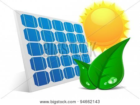 detailed illustration of a solar cell panel with green leafs and sun, eps10 vector