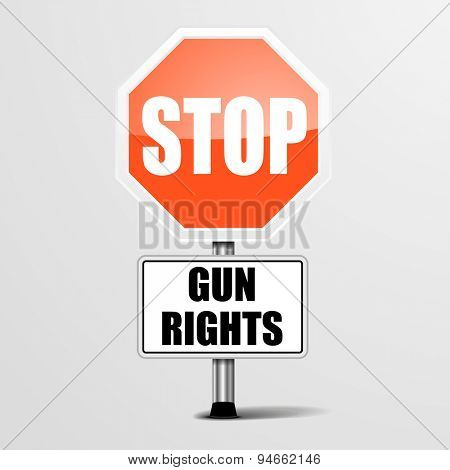 detailed illustration of a red stop Gun Rights sign, eps10 vector