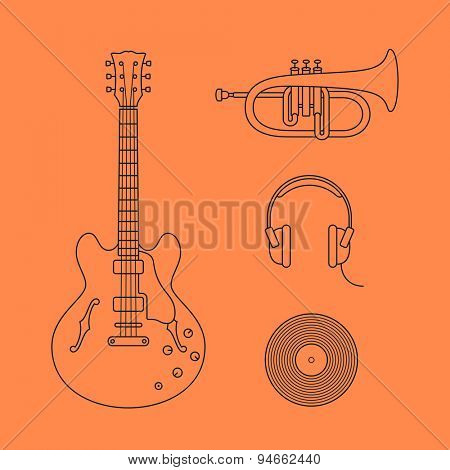 Musical instruments icons. Vector illustration