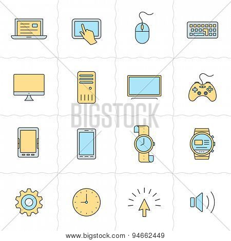 Flat gadgets icons. Electronic gadgets and computer devices. Flat style icons