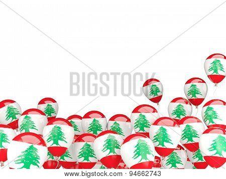 Flying Balloons With Flag Of Lebanon