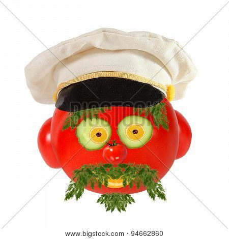 Creative Food Concept. Funny Portrait Of A Sea Captain Made Of  Tomato , Vegetables And Fruit.
