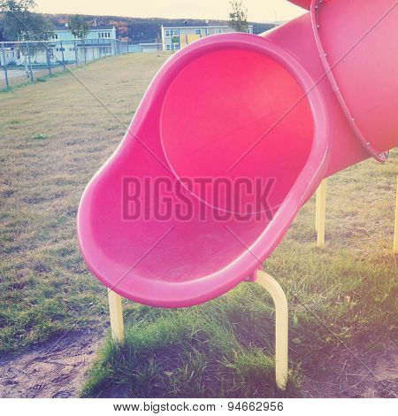 Red Slide at the playground