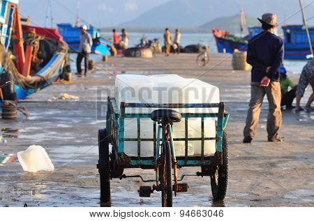 Nha Trang, Vietnam - October 22, 2011: A Truck Of Ice Bars For Storing Fresh Fish At A Local Seaport