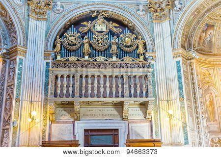 Organs In Santa Maria Di Loreto Church In Rome.