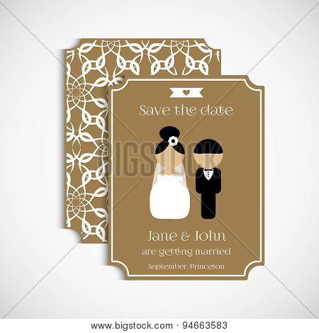 Set of floral vintage wedding cards. Wedding invitation, card, banner, tag.