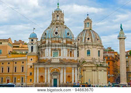 Churches Of Santa Maria Di Loreto And Most Holy Name Of Mary In Rome.
