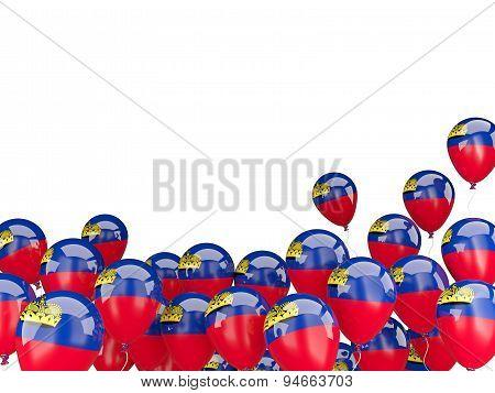 Flying Balloons With Flag Of Liechtenstein