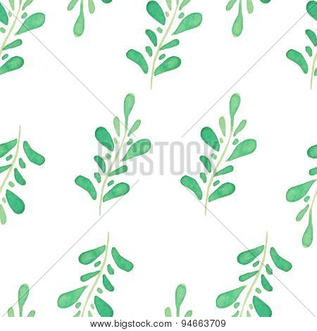 Vector watercolor seamless pattern with hand drawn branches and leaves. Nature ornament.
