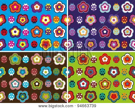 Seamless pattern with pretty flowers on different background