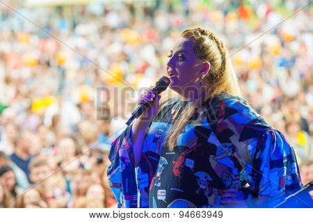 MOSCOW - JUNE 20: Nino Katamadze performs at XII International Jazz Festival