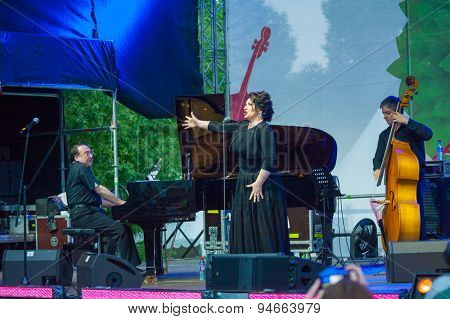 MOSCOW - JUNE 20: Hibla Gerzmava performs at XII International Jazz Festival