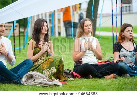 MOSCOW - JUNE 21: People attend open-air concert on XI International Jazz Festival