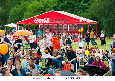 MOSCOW - JUNE 20, 2015: Coca-Cola makes Coca-Cola Zero promotion campaign on XII International Jazz Festival