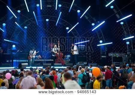 MOSCOW - JUNE 20: Billy's Band group performs at XII International Jazz Festival
