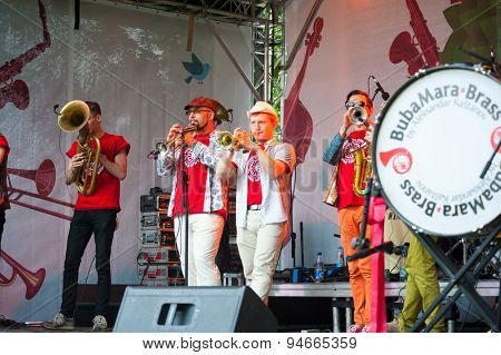 MOSCOW - JUNE 20: Bubamara Brass Band group performs at XII International Jazz Festival