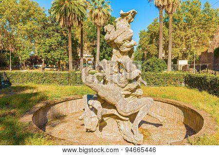 Fountain In Piazza Vittorio In Rome Italy