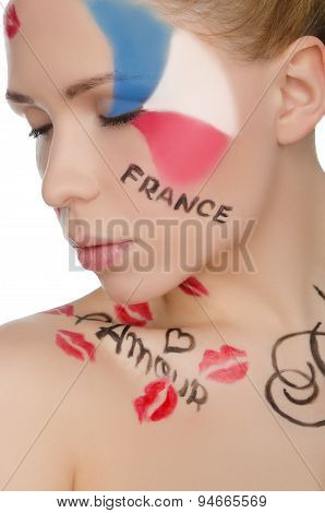 Charming Woman With Face Art On Theme Of France