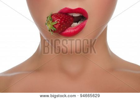 Beautiful Female Lips With Strawberries